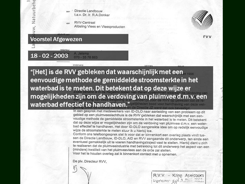 """18 - 02 - 2003 """"[Het] is de RVV gebleken dat waarschijnlijk met een eenvoudige methode de gemiddelde stroomsterkte in het waterbad is te meten. Dit be"""