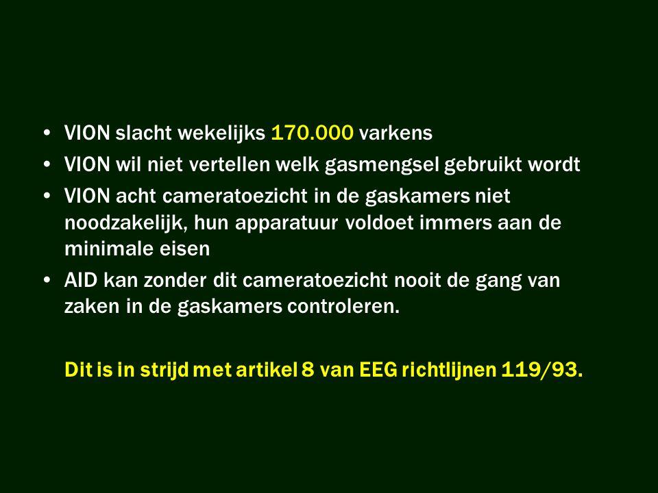 •VION slacht wekelijks 170.000 varkens •VION wil niet vertellen welk gasmengsel gebruikt wordt •VION acht cameratoezicht in de gaskamers niet noodzake