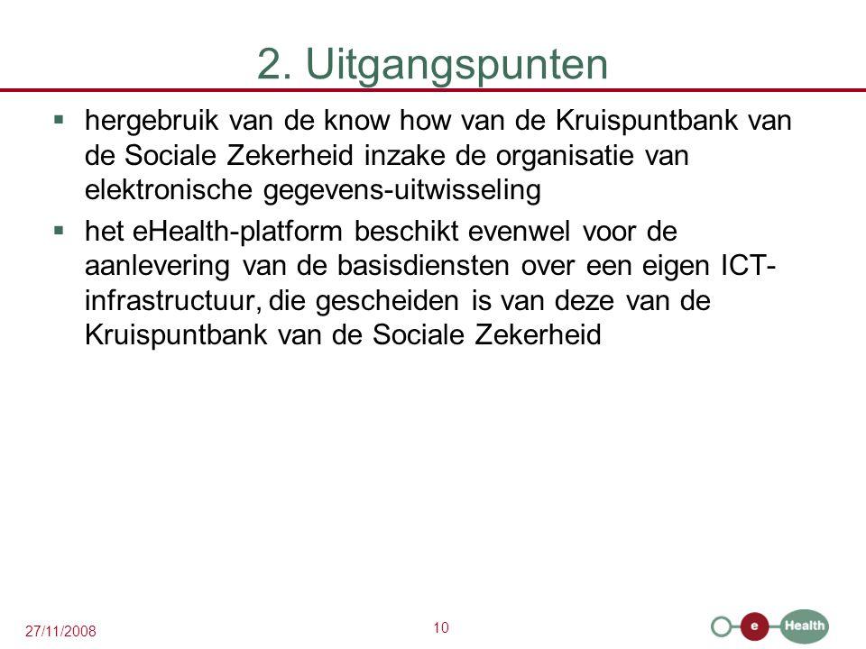10 27/11/2008 2. Uitgangspunten  hergebruik van de know how van de Kruispuntbank van de Sociale Zekerheid inzake de organisatie van elektronische geg