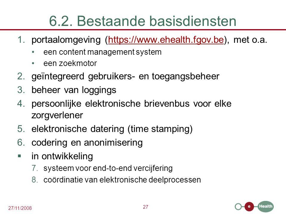 27 27/11/2008 6.2. Bestaande basisdiensten 1.portaalomgeving (https://www.ehealth.fgov.be), met o.a.https://www.ehealth.fgov.be •een content managemen