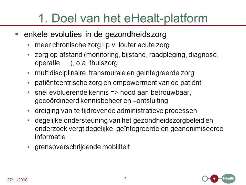 3 27/11/2008 1. Doel van het eHealt-platform  enkele evoluties in de gezondheidszorg •meer chronische zorg i.p.v. louter acute zorg •zorg op afstand