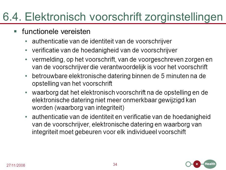 34 27/11/2008 6.4. Elektronisch voorschrift zorginstellingen  functionele vereisten •authenticatie van de identiteit van de voorschrijver •verificati