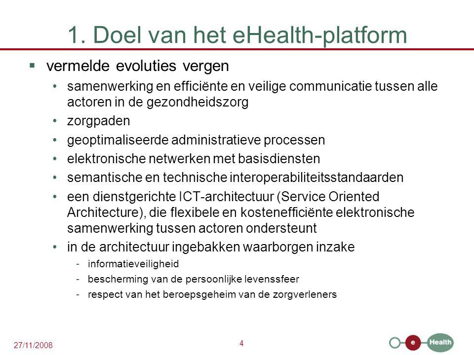 4 27/11/2008 1. Doel van het eHealth-platform  vermelde evoluties vergen •samenwerking en efficiënte en veilige communicatie tussen alle actoren in d