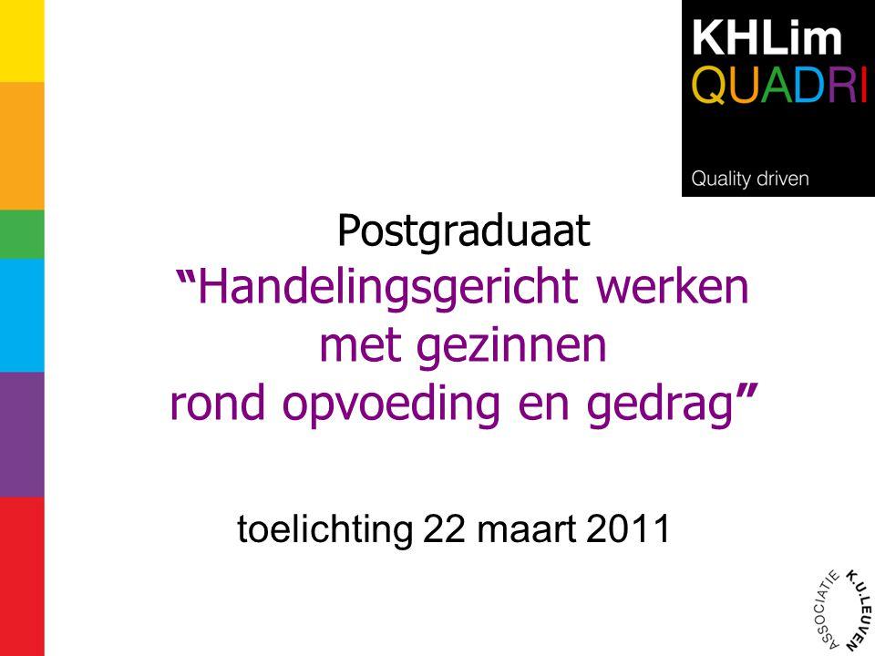 """Postgraduaat """" Handelingsgericht werken met gezinnen rond opvoeding en gedrag"""" toelichting 22 maart 2011"""