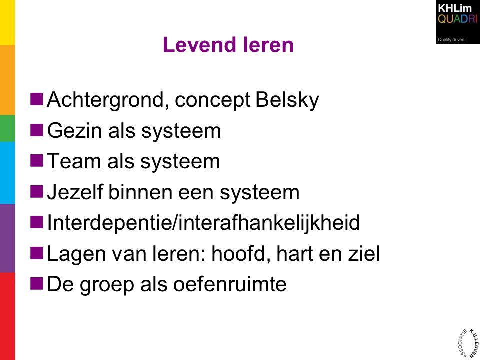 Levend leren  Achtergrond, concept Belsky  Gezin als systeem  Team als systeem  Jezelf binnen een systeem  Interdepentie/interafhankelijkheid  L