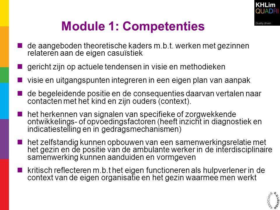 Module 1: Competenties  de aangeboden theoretische kaders m.b.t. werken met gezinnen relateren aan de eigen casuïstiek  gericht zijn op actuele tend