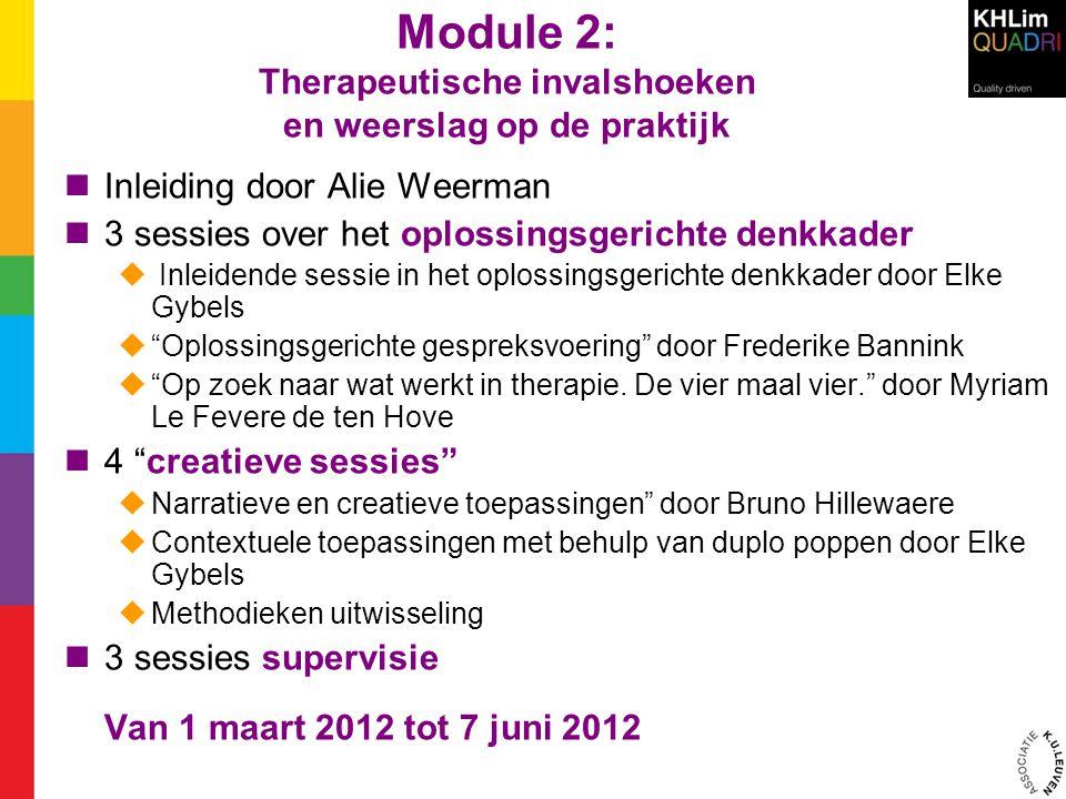 Module 2: Therapeutische invalshoeken en weerslag op de praktijk  Inleiding door Alie Weerman  3 sessies over het oplossingsgerichte denkkader  Inl