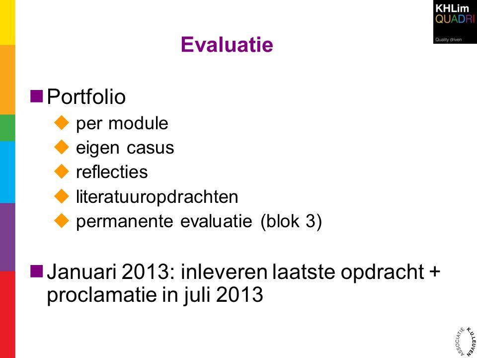 Evaluatie  Portfolio  per module  eigen casus  reflecties  literatuuropdrachten  permanente evaluatie (blok 3)  Januari 2013: inleveren laatste