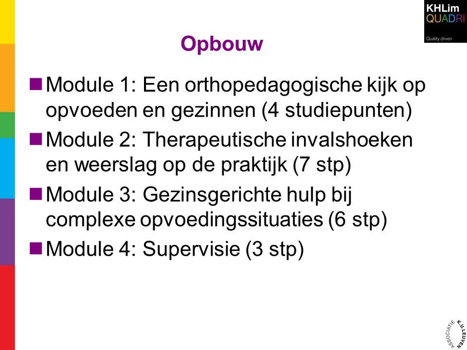 Opbouw  Module 1: Een orthopedagogische kijk op opvoeden en gezinnen (4 studiepunten)  Module 2: Therapeutische invalshoeken en weerslag op de prakt