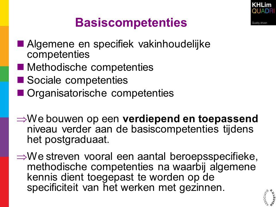 Basiscompetenties  Algemene en specifiek vakinhoudelijke competenties  Methodische competenties  Sociale competenties  Organisatorische competenti