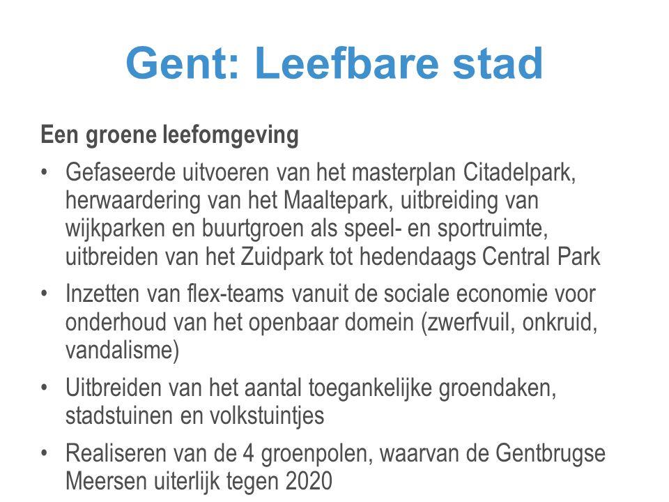 Gent: Leefbare stad Een groene leefomgeving •Gefaseerde uitvoeren van het masterplan Citadelpark, herwaardering van het Maaltepark, uitbreiding van wijkparken en buurtgroen als speel- en sportruimte, uitbreiden van het Zuidpark tot hedendaags Central Park •Inzetten van flex-teams vanuit de sociale economie voor onderhoud van het openbaar domein (zwerfvuil, onkruid, vandalisme) •Uitbreiden van het aantal toegankelijke groendaken, stadstuinen en volkstuintjes •Realiseren van de 4 groenpolen, waarvan de Gentbrugse Meersen uiterlijk tegen 2020