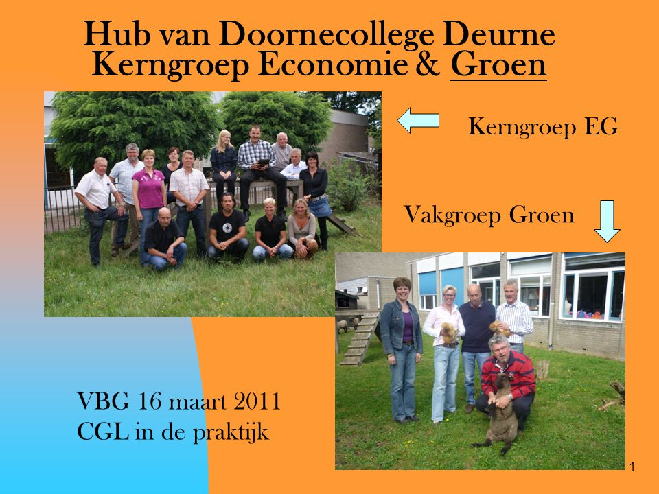 1 Hub van Doornecollege Deurne Kerngroep Economie & Groen Kerngroep EG Vakgroep Groen VBG 16 maart 2011 CGL in de praktijk