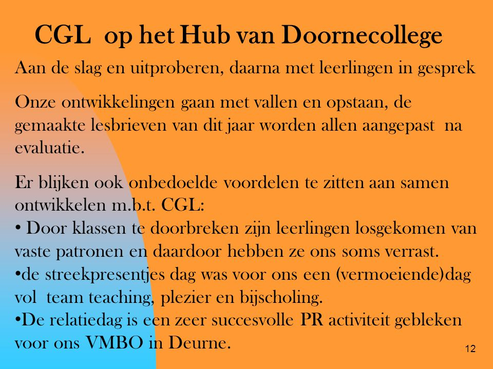 12 CGL op het Hub van Doornecollege Aan de slag en uitproberen, daarna met leerlingen in gesprek Onze ontwikkelingen gaan met vallen en opstaan, de ge