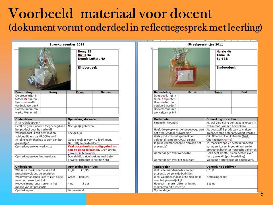 5 Voorbeeld materiaal voor docent (dokument vormt onderdeel in reflectiegesprek met leerling)