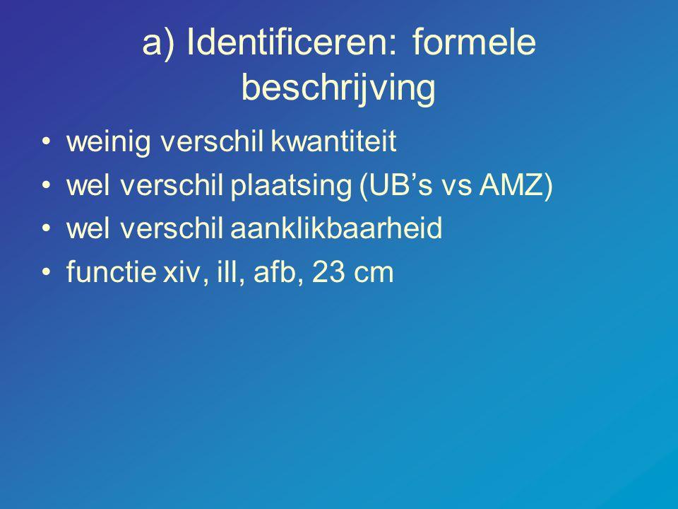 a) Identificeren: formele beschrijving •weinig verschil kwantiteit •wel verschil plaatsing (UB's vs AMZ) •wel verschil aanklikbaarheid •functie xiv, ill, afb, 23 cm