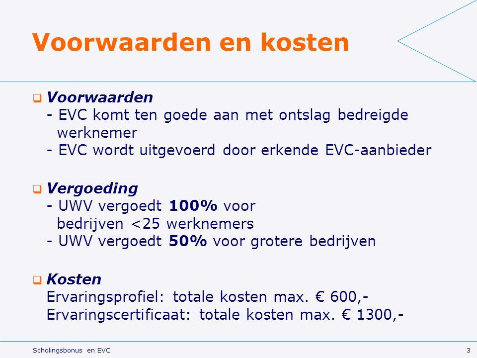 3 Scholingsbonus en EVC Voorwaarden en kosten  Voorwaarden - EVC komt ten goede aan met ontslag bedreigde werknemer - EVC wordt uitgevoerd door erkende EVC-aanbieder  Vergoeding - UWV vergoedt 100% voor bedrijven <25 werknemers - UWV vergoedt 50% voor grotere bedrijven  Kosten Ervaringsprofiel: totale kosten max.