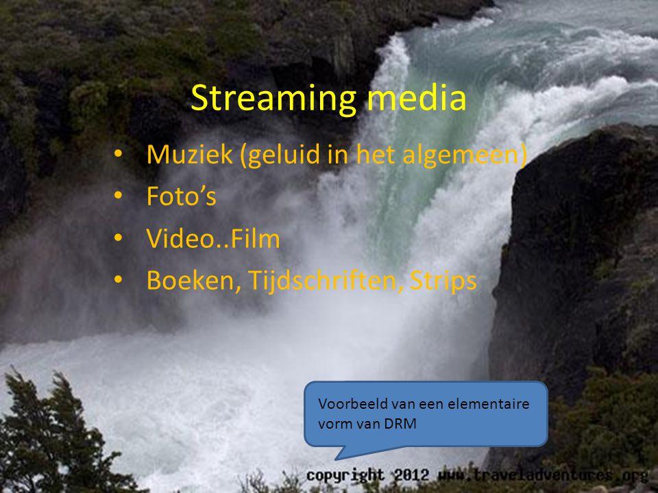 Streaming media • Muziek (geluid in het algemeen) • Foto's • Video..Film • Boeken, Tijdschriften, Strips Voorbeeld van een elementaire vorm van DRM