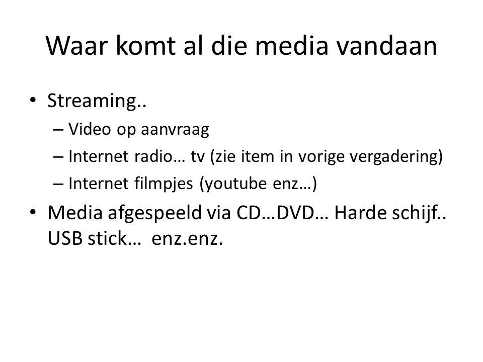 Waar komt al die media vandaan • Streaming.. – Video op aanvraag – Internet radio… tv (zie item in vorige vergadering) – Internet filmpjes (youtube en
