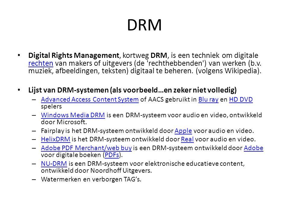 DRM • Digital Rights Management, kortweg DRM, is een techniek om digitale rechten van makers of uitgevers (de 'rechthebbenden') van werken (b.v. muzie