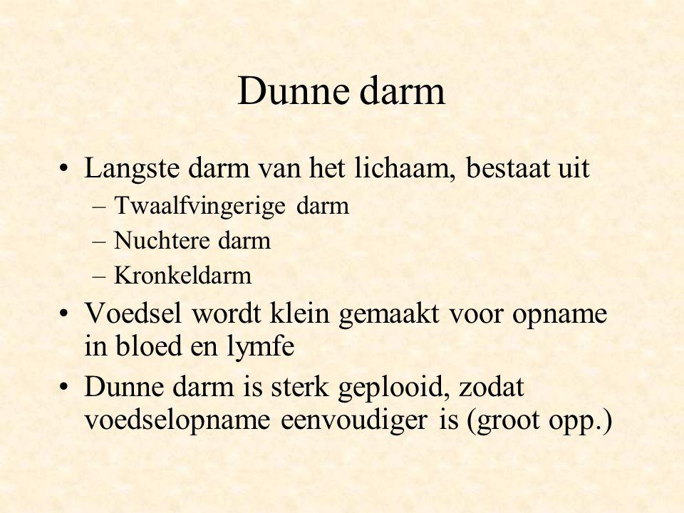 Dunne darm •Langste darm van het lichaam, bestaat uit –Twaalfvingerige darm –Nuchtere darm –Kronkeldarm •Voedsel wordt klein gemaakt voor opname in bl