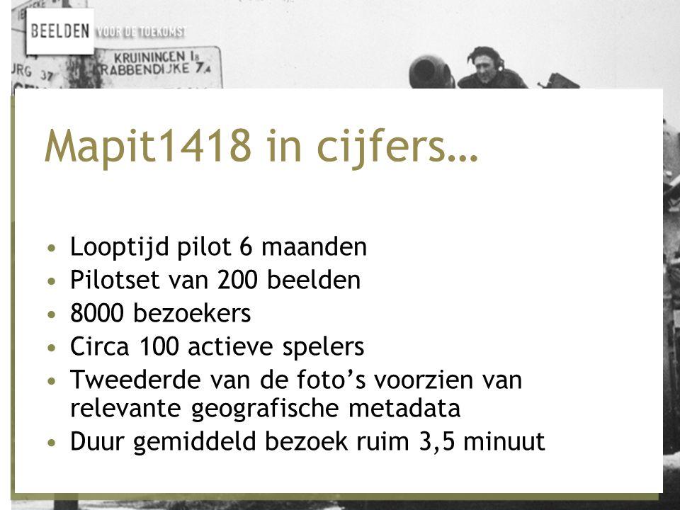 Mapit1418 in cijfers… •Looptijd pilot 6 maanden •Pilotset van 200 beelden •8000 bezoekers •Circa 100 actieve spelers •Tweederde van de foto's voorzien van relevante geografische metadata •Duur gemiddeld bezoek ruim 3,5 minuut