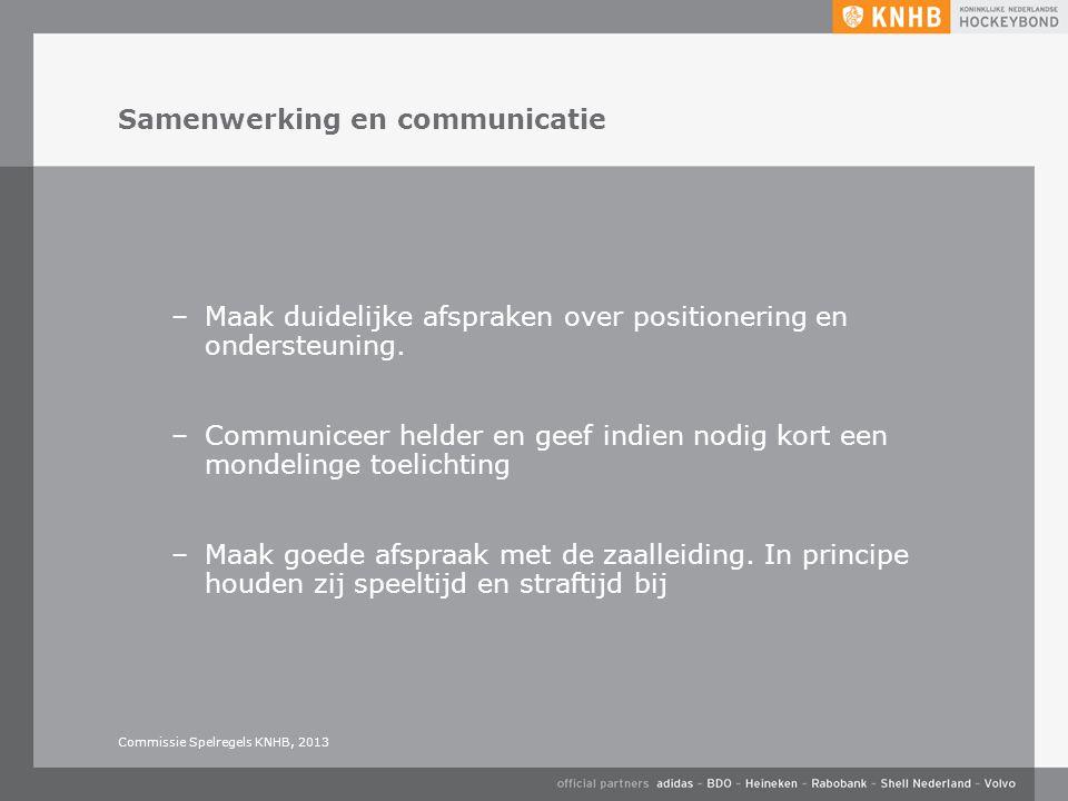 Samenwerking en communicatie –Maak duidelijke afspraken over positionering en ondersteuning. –Communiceer helder en geef indien nodig kort een mondeli