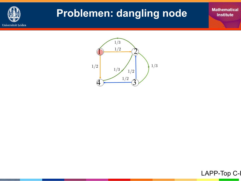Problemen: dangling node Mathematical Institute LAPP-Top C-I 1 4 3 2