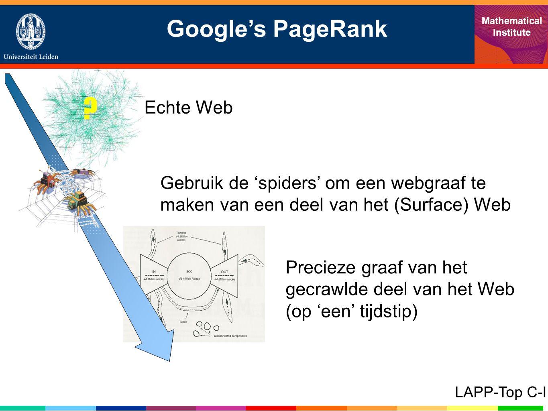 Precieze graaf van het gecrawlde deel van het Web (op 'een' tijdstip) Google's PageRank Mathematical Institute LAPP-Top C-I .