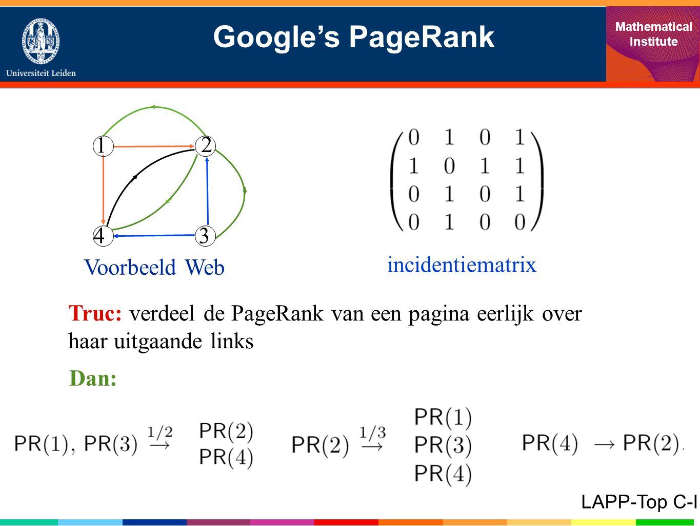 Google's PageRank Mathematical Institute LAPP-Top C-I 1 43 2 incidentiematrix Voorbeeld Web Truc: verdeel de PageRank van een pagina eerlijk over haar uitgaande links Dan: