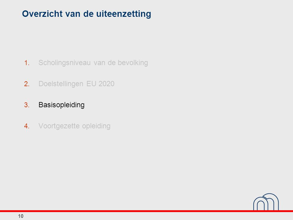 10 Overzicht van de uiteenzetting 1. Scholingsniveau van de bevolking 2. Doelstellingen EU 2020 3. Basisopleiding 4. Voortgezette opleiding
