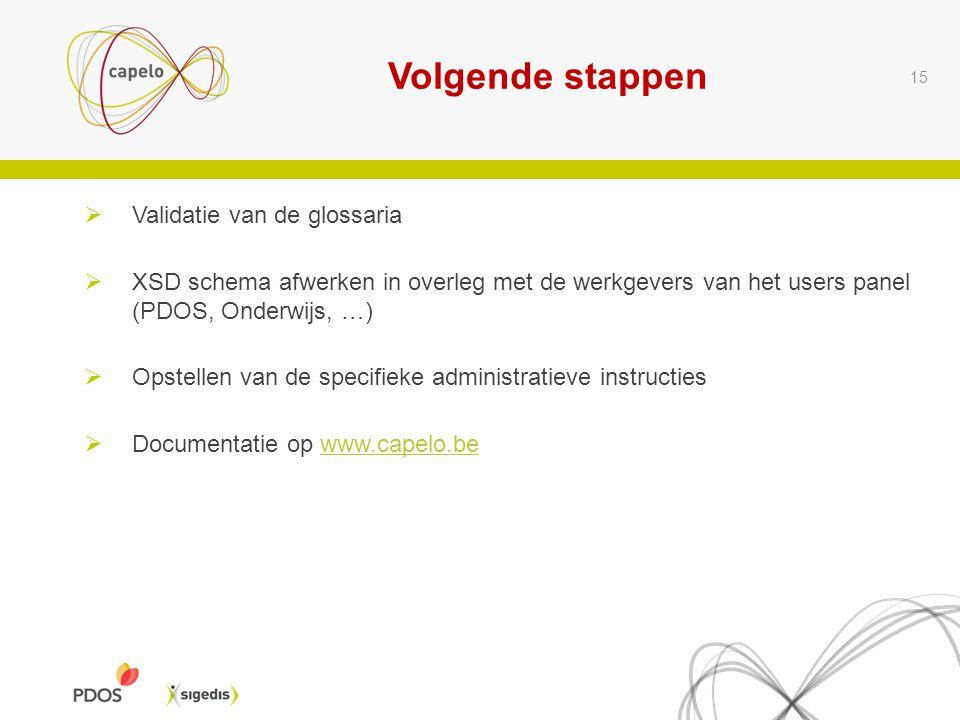 Volgende stappen 15  Validatie van de glossaria  XSD schema afwerken in overleg met de werkgevers van het users panel (PDOS, Onderwijs, …)  Opstellen van de specifieke administratieve instructies  Documentatie op www.capelo.bewww.capelo.be