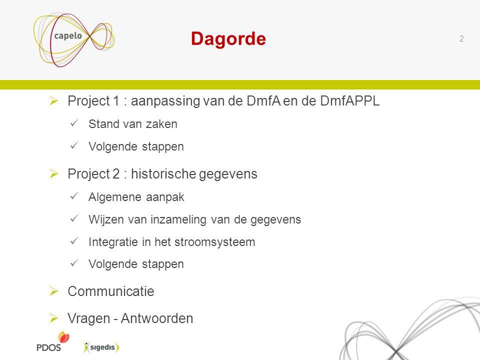 2  Project 1 : aanpassing van de DmfA en de DmfAPPL  Stand van zaken  Volgende stappen  Project 2 : historische gegevens  Algemene aanpak  Wijzen van inzameling van de gegevens  Integratie in het stroomsysteem  Volgende stappen  Communicatie  Vragen - Antwoorden Dagorde