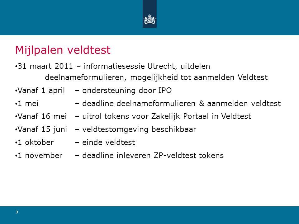 4 aprmeijunjulaugsepoktnovdecjan Tijdlijn veldtest 31 maart 2011 Infosessie Utrecht, uitdelen deelnameformulier Start ondersteuning door IPO 1 mei 2011 deadline Aanmelden veldtest Vanaf 16 mei 2011 uitrol tokens voor Zakelijk Portaal in Veldtest Vanaf 15 juni 2011 Veldtestomgeving beschikbaar 1 oktober 2011 Einde veldtest deadline inleveren ZP-veldtest tokens
