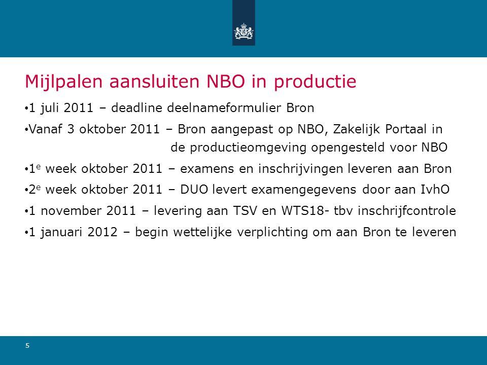 6 aprmeijunjulaugsepoktnovdecjan Tijdlijn aansluiten NBO op Bron 31 maart 2011 Infosessie Utrecht, uitdelen deelnameformulier Vanaf nu ondersteuning door IPO 1 juli 2011 deadline deelnameformulieren 3 oktober 2011 Bron aangepast op NBO Zakelijk Portaal in PRD opengesteld voor NBO 1e week oktober 2011 examens en inschrijvingen leveren aan Bron 2e week oktober 2011 DUO levert examengegevens door aan IvhO 1 november levering aan TSV en WTS18- tbv inschrijfcontrole 1 januari 2012 begin wettelijke verplichting om aan Bron te leveren
