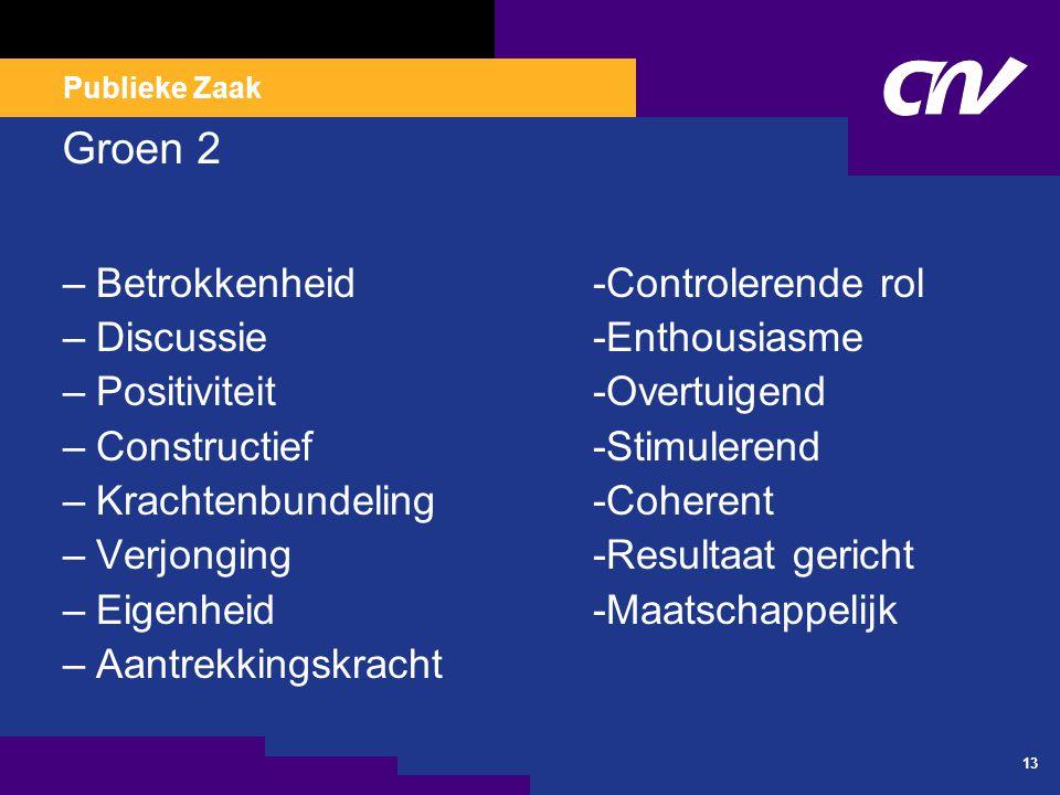 Publieke Zaak 13 Groen 2 –Betrokkenheid-Controlerende rol –Discussie-Enthousiasme –Positiviteit-Overtuigend –Constructief-Stimulerend –Krachtenbundeli