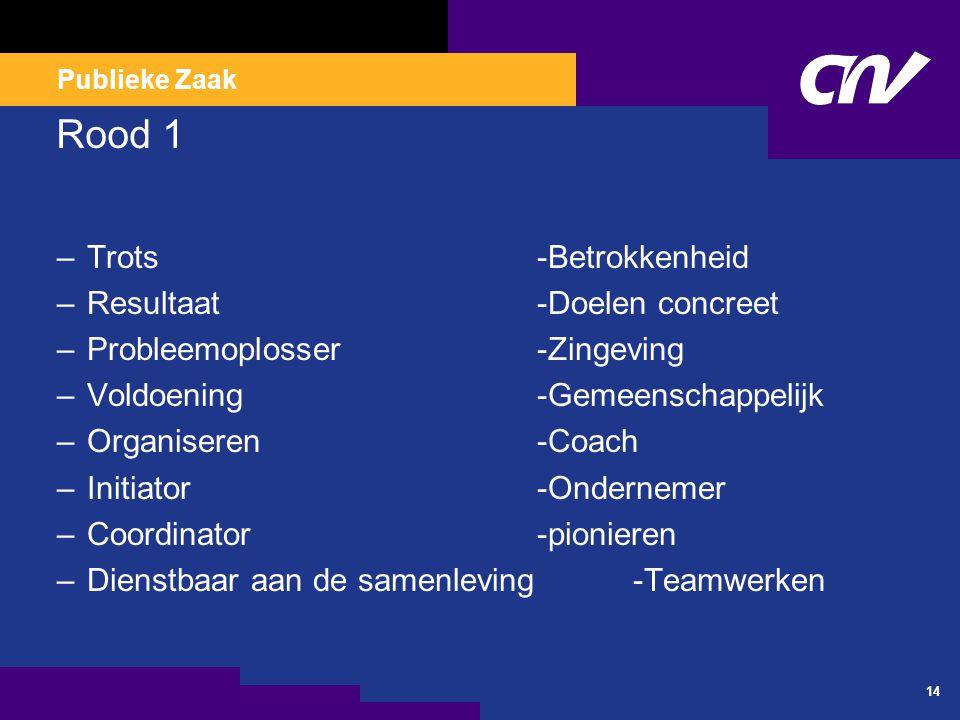 Publieke Zaak 14 Rood 1 –Trots-Betrokkenheid –Resultaat-Doelen concreet –Probleemoplosser-Zingeving –Voldoening-Gemeenschappelijk –Organiseren-Coach –Initiator-Ondernemer –Coordinator-pionieren –Dienstbaar aan de samenleving-Teamwerken