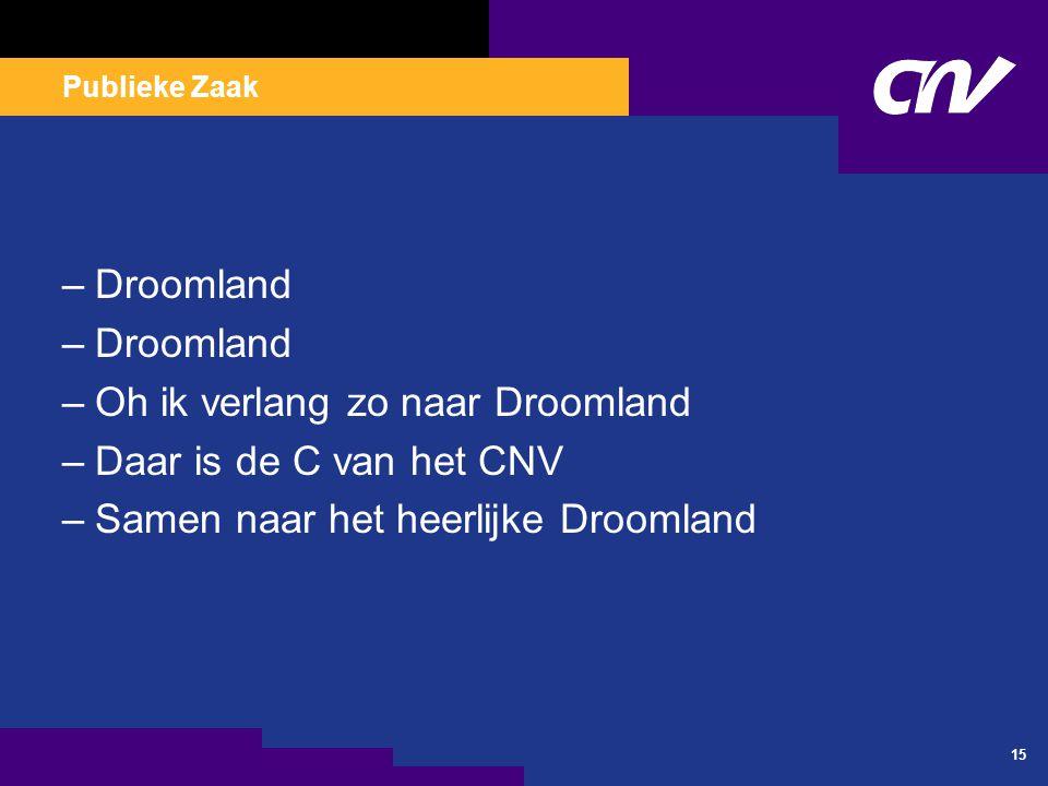 Publieke Zaak 15 –Droomland –Oh ik verlang zo naar Droomland –Daar is de C van het CNV –Samen naar het heerlijke Droomland