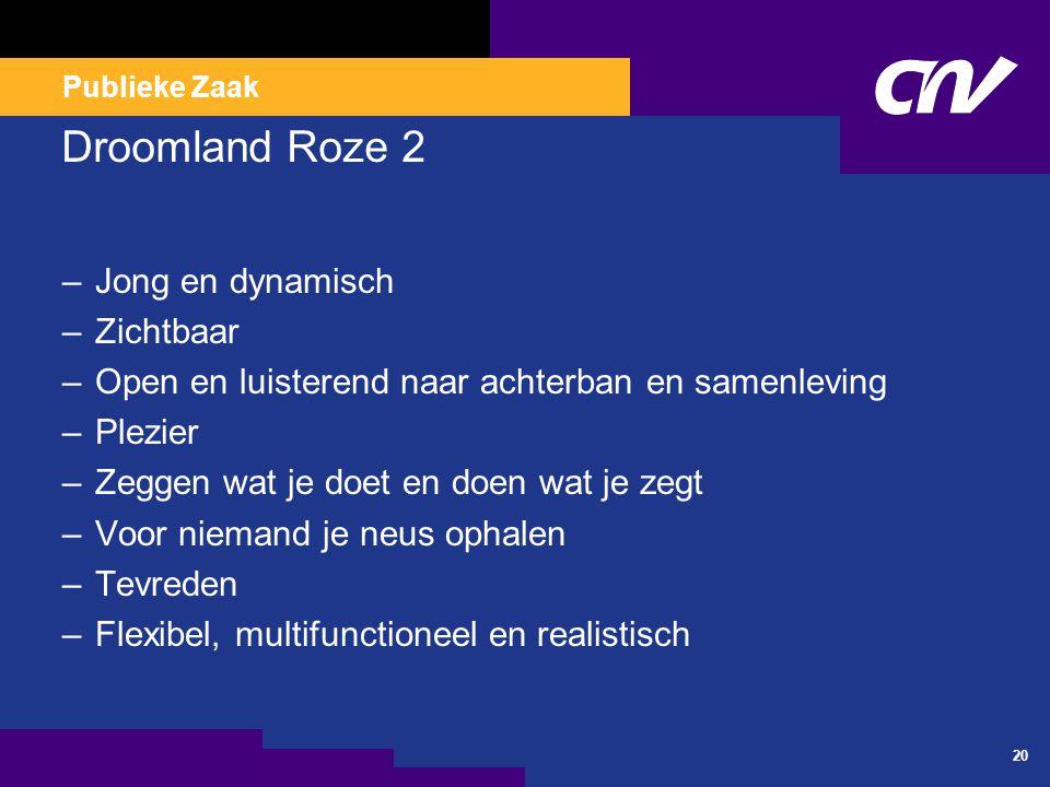 Publieke Zaak 20 Droomland Roze 2 –Jong en dynamisch –Zichtbaar –Open en luisterend naar achterban en samenleving –Plezier –Zeggen wat je doet en doen wat je zegt –Voor niemand je neus ophalen –Tevreden –Flexibel, multifunctioneel en realistisch