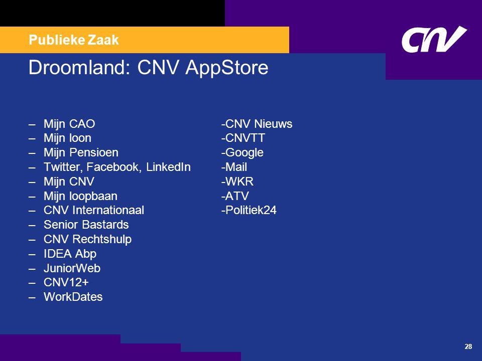 Publieke Zaak 28 Droomland: CNV AppStore –Mijn CAO-CNV Nieuws –Mijn loon-CNVTT –Mijn Pensioen-Google –Twitter, Facebook, LinkedIn-Mail –Mijn CNV-WKR –Mijn loopbaan-ATV –CNV Internationaal-Politiek24 –Senior Bastards –CNV Rechtshulp –IDEA Abp –JuniorWeb –CNV12+ –WorkDates