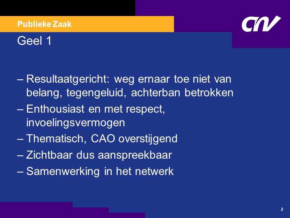 Publieke Zaak 2 Geel 1 –Resultaatgericht: weg ernaar toe niet van belang, tegengeluid, achterban betrokken –Enthousiast en met respect, invoelingsvermogen –Thematisch, CAO overstijgend –Zichtbaar dus aanspreekbaar –Samenwerking in het netwerk