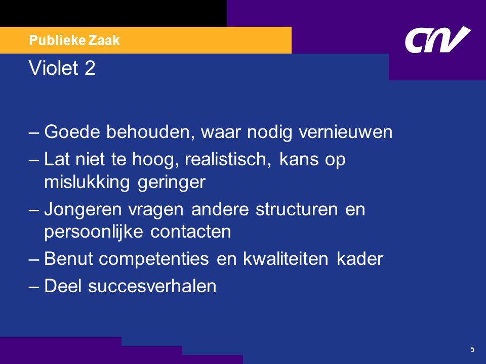Publieke Zaak 16 Droomland Blauw –CNV PZ en CNVO verzilveren feestelijk moment –Lidmaatschap in basis- en servicepakketten –Digitale dienstverlening –Leden bonus cultuur