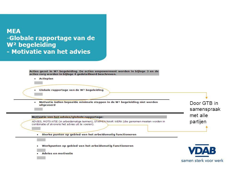 MEA -Globale rapportage van de W² begeleiding - Motivatie van het advies Door GTB in samenspraak met alle partijen