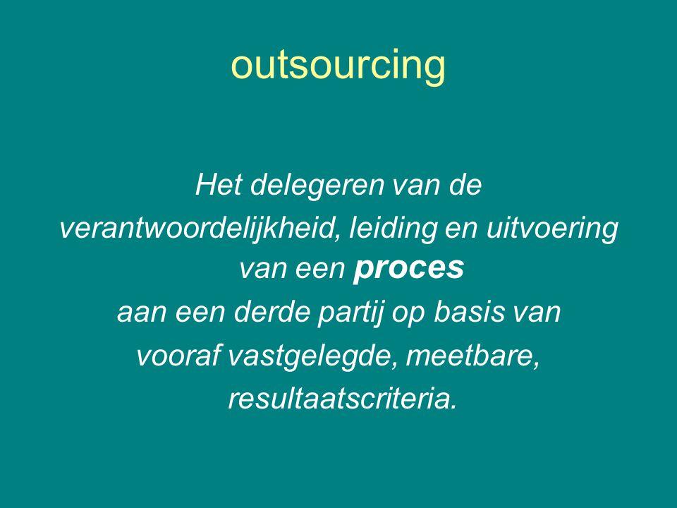 outsourcing Het delegeren van de verantwoordelijkheid, leiding en uitvoering van een proces aan een derde partij op basis van vooraf vastgelegde, meetbare, resultaatscriteria.