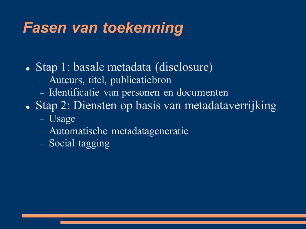 Fasen van toekenning  Stap 1: basale metadata (disclosure)  Auteurs, titel, publicatiebron  Identificatie van personen en documenten  Stap 2: Die