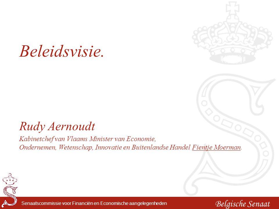 Belgische Senaat Senaatscommissie voor Financiën en Economische aangelegenheden Beleidsvisie. Rudy Aernoudt Kabinetchef van Vlaams Minister van Econom