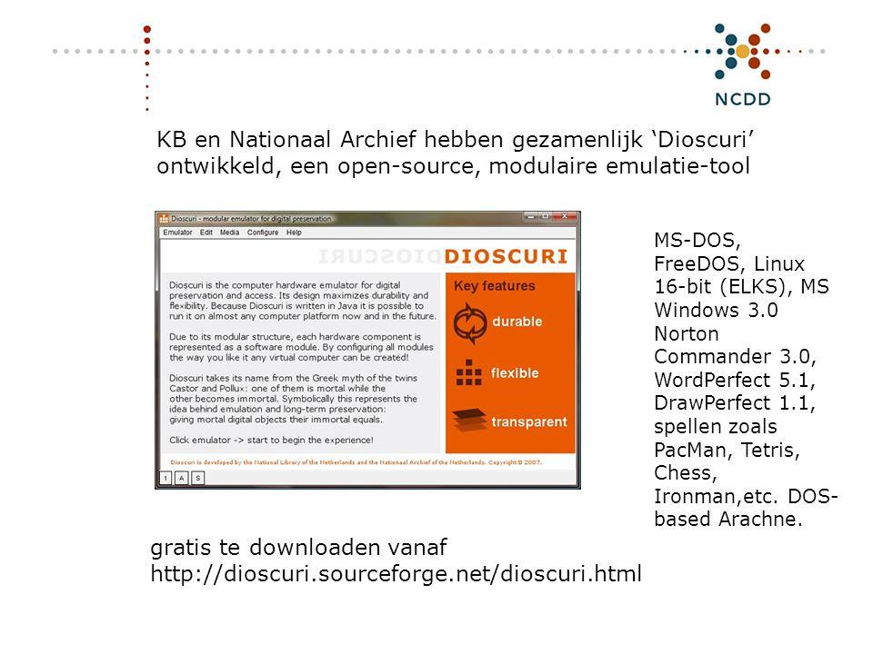Digitale duurzaamheid - INHOLLAND 17 juni 2008 18 KB en Nationaal Archief hebben gezamenlijk 'Dioscuri' ontwikkeld, een open-source, modulaire emulati
