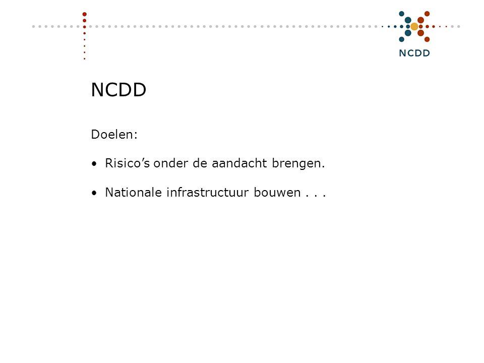 Digitale duurzaamheid - INHOLLAND 17 juni 2008 25 NCDD Doelen: •Risico's onder de aandacht brengen. •Nationale infrastructuur bouwen...