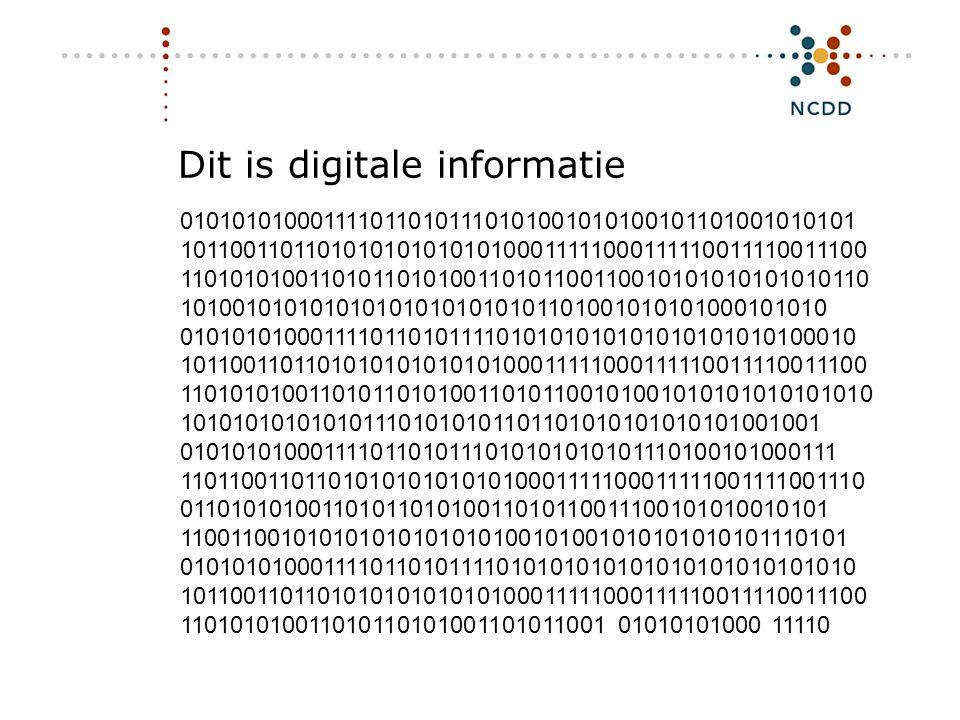Digitale duurzaamheid - INHOLLAND 17 juni 2008 3 0101010100011110110101110101001010100101101001010101 101100110110101010101010100011111000111110011110