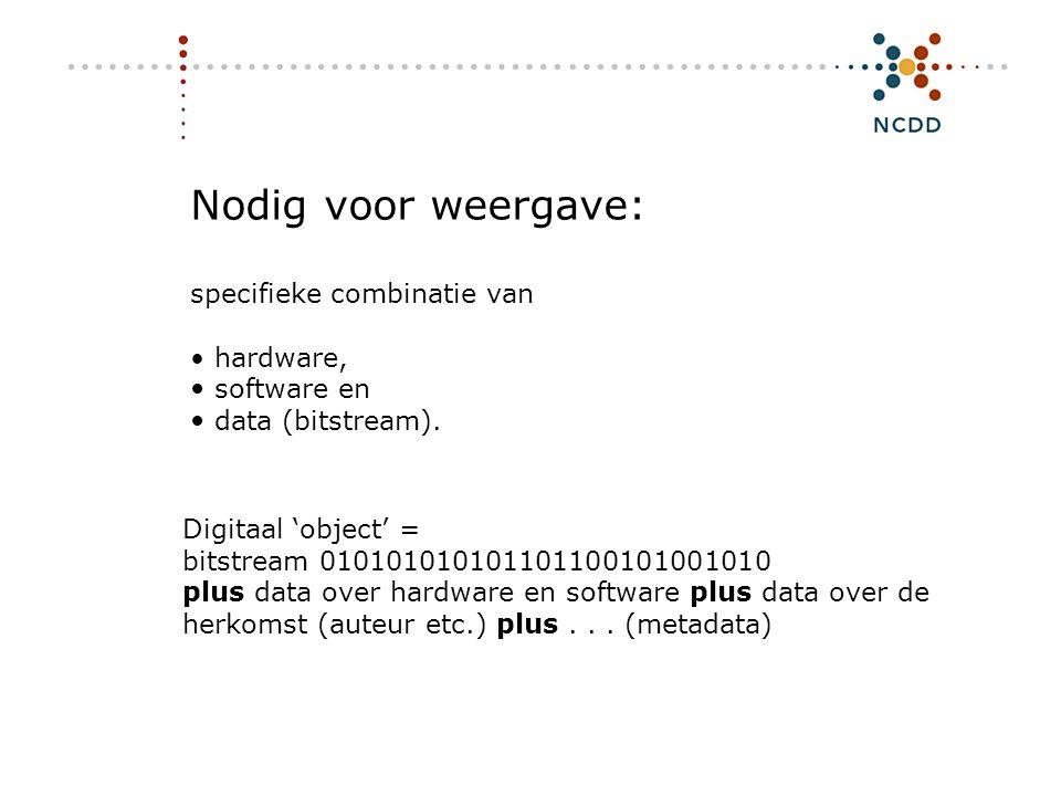 Digitale duurzaamheid - INHOLLAND 17 juni 2008 5 Nodig voor weergave: specifieke combinatie van • hardware,  software en  data (bitstream). Digitaal