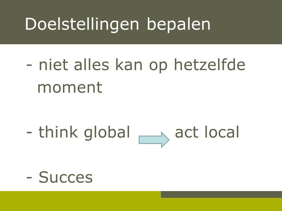 Doelstellingen bepalen - niet alles kan op hetzelfde moment - think global act local - Succes